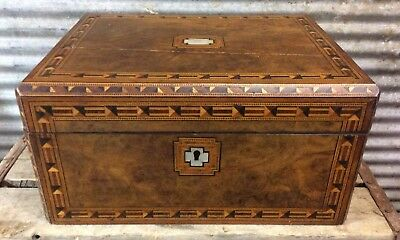 Exquisite Early Antique Walnut Mother Pearl Ornate Inlay Writing Slope Desk Box