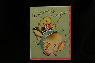 Vintage Duck And Drum Set Easter Card 1940S By GB