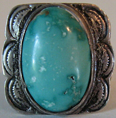1930's Vintage Navajo Indian Stamped Silver & Blue Turquoise Ring