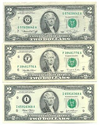 USA United States Set of 3 Federal Reserve Notes 2 Dollars 1976 g 1995 f 2003 i
