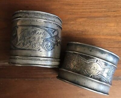 (2) Ornate Superb English Victorian Sterling Silver Napkin Rings 1876, 42.5g TW