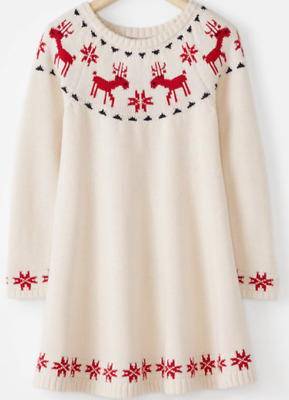 NWT Hanna Andersson Dear Deer Fair Isle Christmas Holiday Sweater Dress 110/US