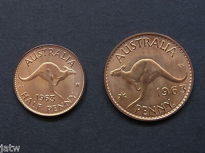 Australia. 1963 Perth - Penny & Halfpenny Proof Pair.. Near Full Red Mint Lustre