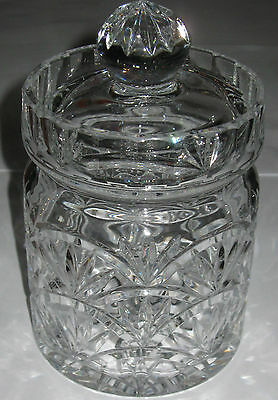 "Antique/Vintage Thick Crystal Glass Biscuit Jar & Cover - 8"" Ht x 4 1/2"" Wd"
