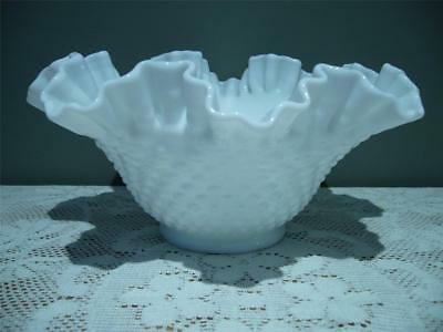 Vintage Fenton Hobnail Crimped Fruit Bowl - Milk Glass  - Large Size - Vg Cond
