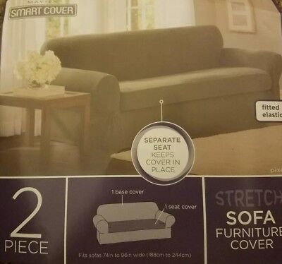 New Maytex Stretch Pixel 2 Piece Sofa Slipcover Grey 24 60