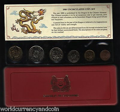 Singapore 1 5 10 20 50 $1 1988 Year Of Dragon Unc Commemorative Mint Coin Set