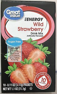8 Boxes Of Great Value Wild Strawberry Energy On The Go Drink Mix Water Enhancer