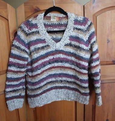 Vintage Wool Knit Pullover V-Neck Sweater Made in Italy Striped