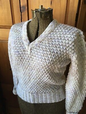 Vintage Joseph Laurin Acrylic Knit Vneck Speckled Pullover Sweater