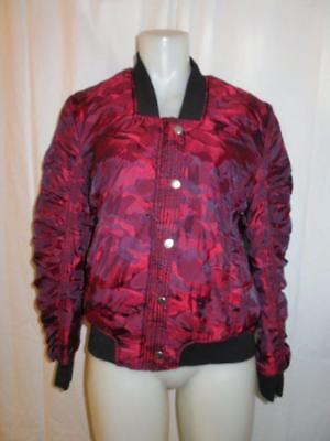 Womens Blank Nyc Reversible Black Red Quilted Bomber Jacket Coat Size Medium