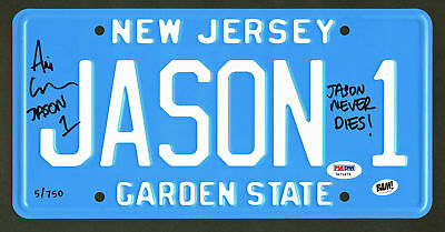 """Friday The 13th Ari Lehman """"Jason Never Dies"""" Authentic Signed License Plate PSA"""