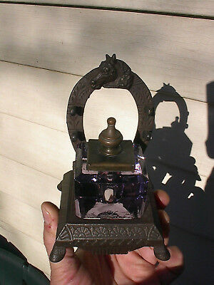 OLD ORNATE 1890s HORSE HEAD ANTIQUE EQUESTRIAN THEME CAST IRON DESK INKWELL