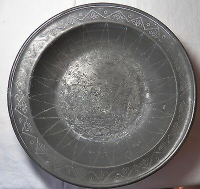 EARLY 19th CENTURY CONTINENTAL PEWTER WINE BOWL SIGNED ANTIQUE