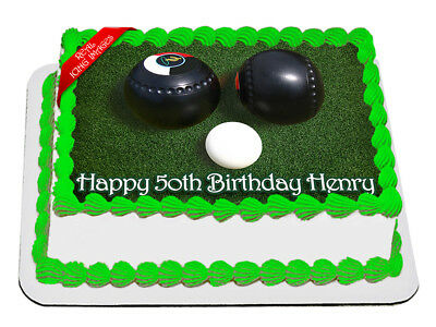 Lawn Bowls 19cm Edible Icing Image Birthday Party Cake Topper Decoration