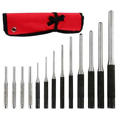 Roll Punch Pin Hollow Craftsman Steel Grip Hand Punches Starter Set Case Tool