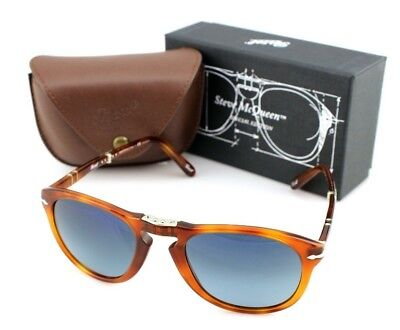 POLARIZED Steve McQueen PERSOL Folding Havana Blue Sunglasses PO 714 SM 96/S3 54