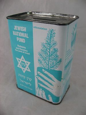 Jewish National Fund Tin Blue Box Us Donation Israel Charity Ny, Rare Vintage
