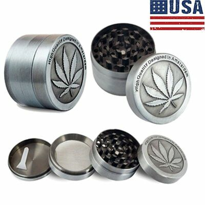 US 4 Piece Tobacco Herb Grinder Spice Herbal Zinc Alloy Smoke Crusher Zinc Alloy