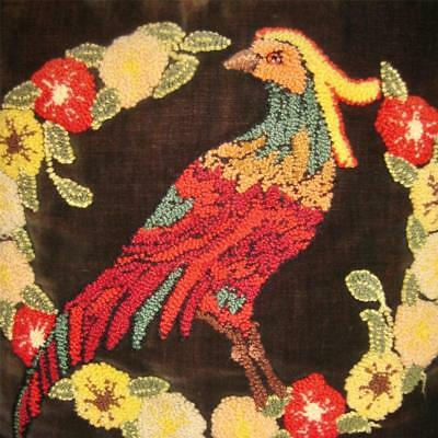antique PUFFY WOOL EMBROIDERY Velvet PILLOW Red Pheasant BIRD in FLOWER WREATH !