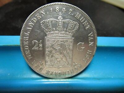 1847 - Netherlands - 2-1/2 Gulden - Silver Crown - XF                     (H145)