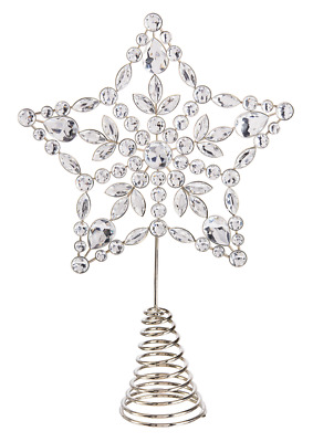 """Star Tree Topper Silver Crystal Christmas Large Acrylic 8"""""""
