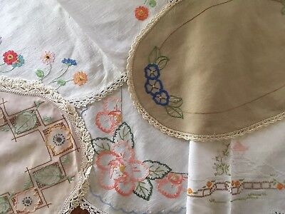 5 Pretty Floral Vintage Linen Hand Embroidered Centrepiece Doilies Craft or Use