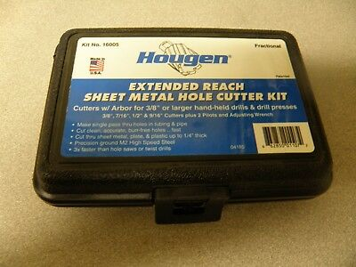 Hougen 16005 Extended Reach Sheet Metal Hole Cutter Kit Free Shipping