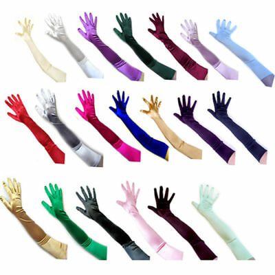 Women's Satin Long Gloves Opera Wedding Bridal Evening Party Prom Costume Glove