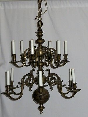 Vintage 12 Light Williamsberg Brass Chandelier  C1950'S