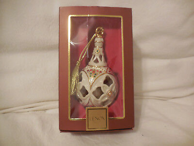 Lenox Christmas Tree Ornament w/Embedded Pearls and Gold Trim