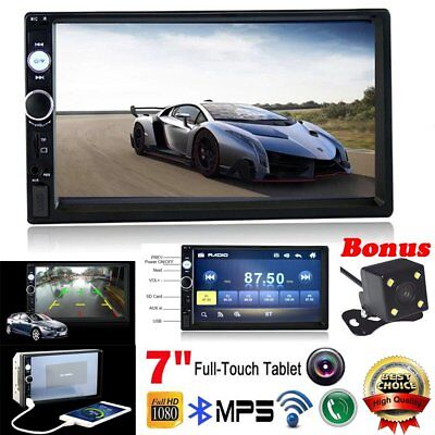"7"" HD 2DIN Car MP5 MP3 Player Bluetooth Touch Screen Stereo Radio + Rear Camera"