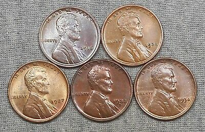 Lot Of 5 Nice Lincoln Wheat Cents - 1916, 1925, 1927, 1933 D & 1934