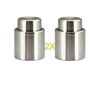Stainless Steel Reusable Vacuum Sealed Champagne Wine Bottle Stopper Cap 2XPACK