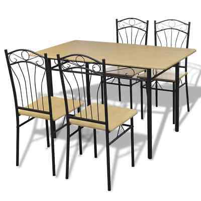 Modern Dining Set Wood Metal Table and 4 Armless Chairs Kitchen Home Furniture