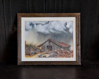 Western Landscape Painting - Old Tin Roof Barn In Thunderstorm - Rustic Frame