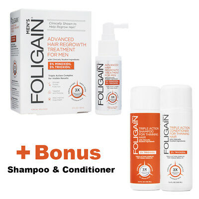 FOLIGAIN HAIR REGROWTH 5% Minoxidil+5%Trioxidil,Bonus Pack,Regaine Hair Growth