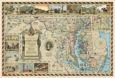 1931 Pictorial Historical Literary Map Old Line State of Maryland Art Poster
