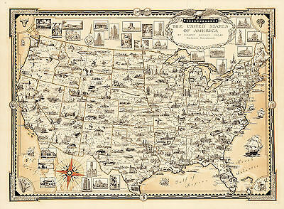 1935 Pictorial Map USA Vintage Historical Wall Art Poster Genealogy History