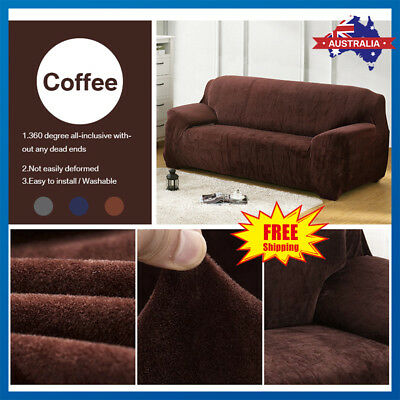 Sofa Cover Velvet Stretch 1 2 3 Seater Easy Fit Lounge Couch Recliner Slipcovers