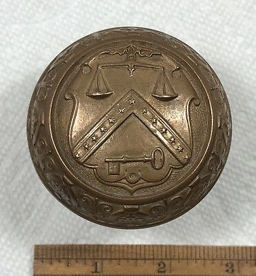 US Dept Treasury Seal Door Knob  Antique Vintage Russell Erwin Hardware Salvage