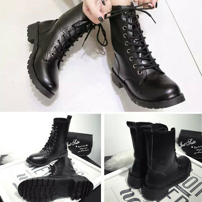 AU Women Stylish Cool Casual PU Leather Lace-up Mid-calf Boots Motorcycle Shoes