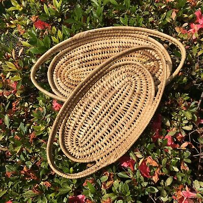 Set Of 2 Seagrass Ratten Basket Trays Oval Serving Display Table Like New