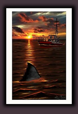 "JAWS Movie Art Print ""Orca Twilight"" Signed by Tom Ryan - Sharks Sunset Seascape"