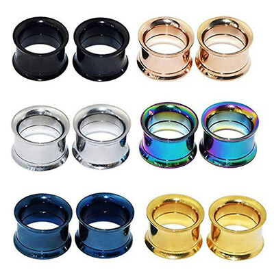 PAIR Stainless Steel Double Flare Screw Fit Ear Plug Flesh Tunnel Gauges Eyelet