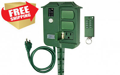 ECOPlugs Light Sensor Timer Switch, Outdoor Stake with Remote, Digital...