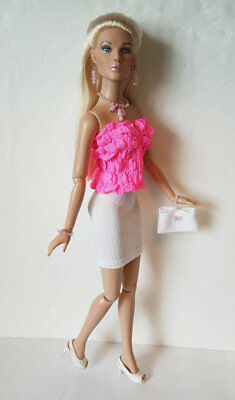 "TYLER Clothes 16"" Neon Pink Top, Skirt, Purse & Jewely HM Fashion NO DOLL d4e"