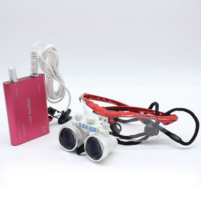 3.5x420 mm Dental Loupes Surgical loupe binoculaire Optique Verre & Head Light