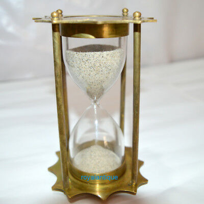 Brass Sand Timer Hourglass With Nautical Maritime Collectible Home Decor