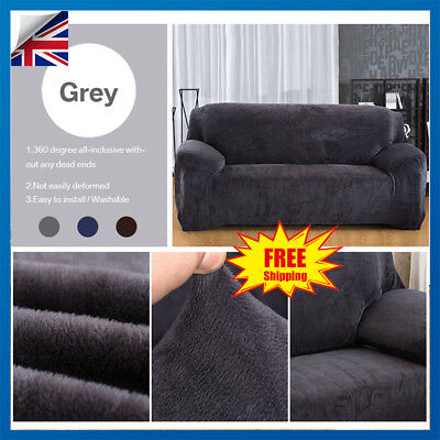 Plush Velvet Easy Fit Stretch Sofa Slipcover Protector Couch Cover -1/2/3 Seater